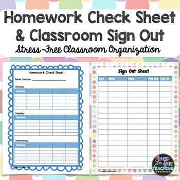 StressFree Classroom Sign Out Sheet By StressFree Teaching  Tpt