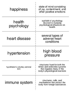 Stress, Lifestyle, and Health Flash Cards For Psychology