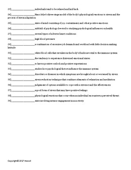 Stress, Lifestyle, and Health Quiz or Worksheet for Psychology