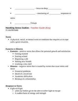 Stress Notes Outline Lesson Plan