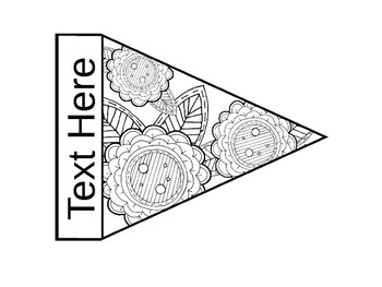 Stress Relief Coloring Pennant Banner {EDITABLE}