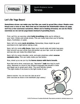 Stress Teacher's Guide (Pre-K to Grade 2)