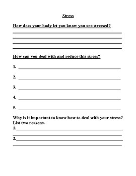 Stress Worksheet: How do you know you are stressed, how do ...