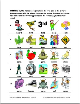 "Stressed ""ER"" Rhyming Rows: Articulation Exercise"