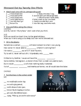 Stressed Out - Twenty One Pilots Listening Activity