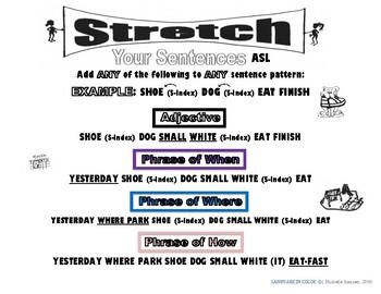 Stretch Your ASL Sentences Advanced (Color Code)