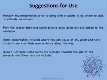 Writing Descriptive Sentences: PowerPoint Lesson Plan & Activity WINTER VERSION