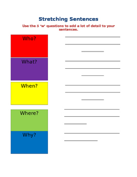 Stretching Sentences Activity