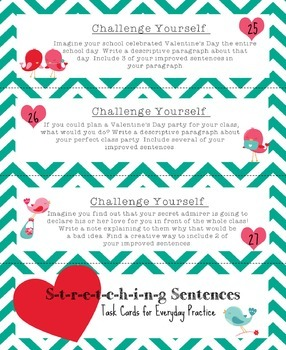 Stretching Sentences Task Cards, Improve Sentence Writing, Common Core Aligned