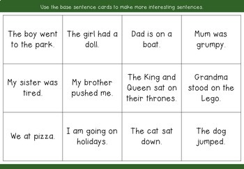 Stretching Sentences - adding detail - worksheets and cards