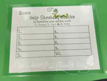 Stretchy Snake Spelling Mats & Dolch Pre & Primer Sight Word Cards