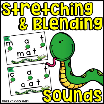 Stretchy Snake Stretch and Blend Sound Cards: CVC and Digraphs