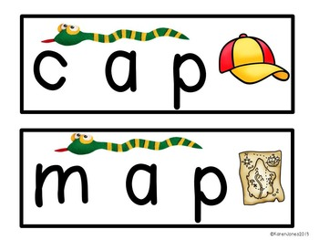 Stretchy Snake Words: Level 1 {Decoding CVC Words Activity}