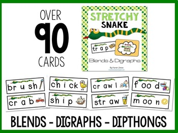 Stretchy Snake Words: THE BUNDLE! {CVC words, Blends, Digraphs, and Dipthongs}