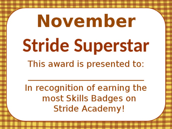 Stride Academy certificates for the year *EDITABLE*
