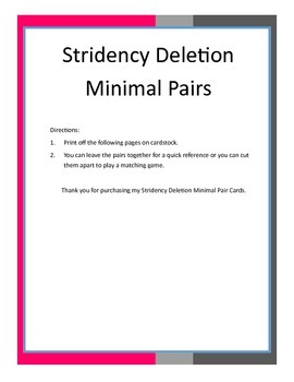 Stridency Deletion Minimal Pair Cards