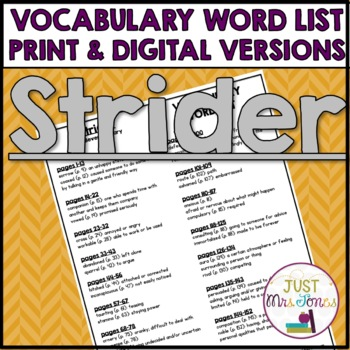 Strider Vocabulary Word List