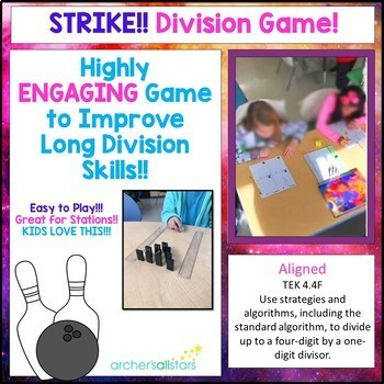 Strike!! A Division Math Game to Improve Long Division Skills Aligned 4.4F