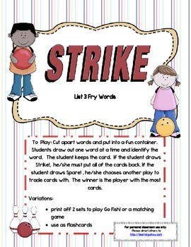 Strike! ~ A sight word game using the 3rd 100 Fry words