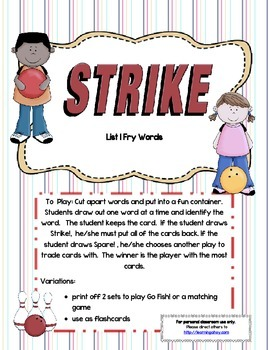 Strike! BUNDLE ~ A sight word recognition game using the Fry words