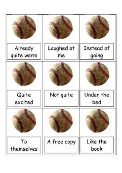 Strike Three FRY Game- FRY phrases Baseball-Fluency