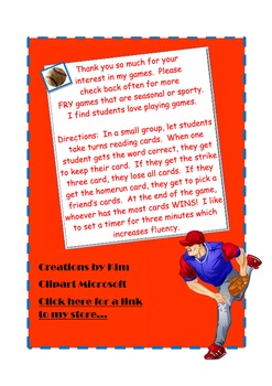 Strike Three FRY Game- FRY phrases Baseball-Fluency