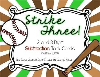 Strike Three! Subtraction Task Cards