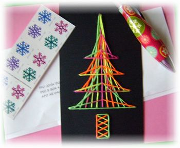 String Art Christmas Tree using Whole Number Directions