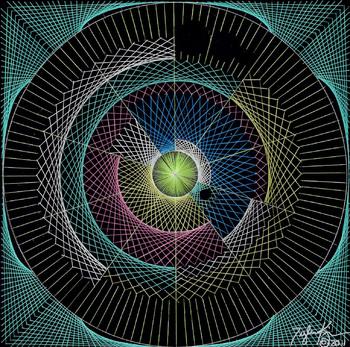 String Art Poster: Pi through lines