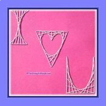 String Art Valentine with a  triangular heart