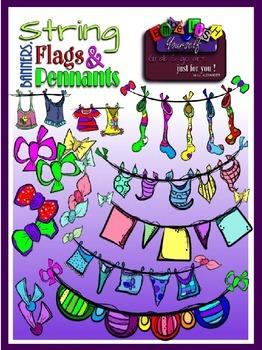 "Buntings ""Strings Banners Flags Pennants"" Clipart (Embelli"