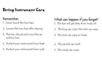 String Instrument Care Handout