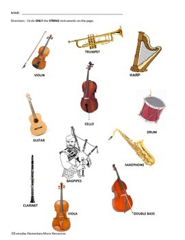 String Instrument Family Identification Worksheet/Assessment