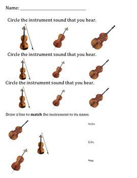String Instrument Sounds Worksheet