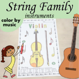 String Family Instruments Color by Music Worksheets | PDF