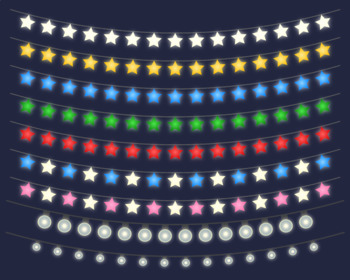 String Light Clipart, Fairy Lights, Patio Lights Clip Art, Vector String Lights