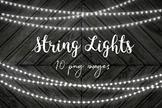 String Lights Clip Art, Fairy Lights Overlays