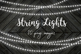 String Lights Clip Art, Fairy Lights Overlays