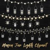 String Lights Clipart, Mason Jar Lights Overlays, Bunting Lights Clipart