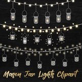 String Lights Clipart, Mason Jar Lights Overlays, Bunting