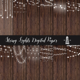 String Lights Digital Paper, Lights On Wood, Fairy Lights