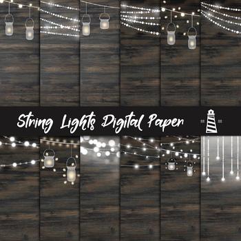 String Lights Digital Paper, Mason Jar & Fairy Lights Backgrounds