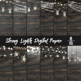 String Lights Digital Paper, Mason Jar & Fairy Lights Backgrounds