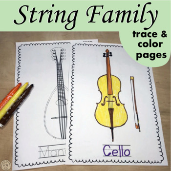 String Orchestra Instruments Trace and Color Page