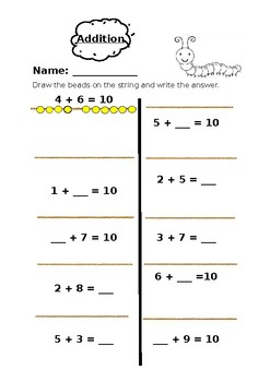 String and Beads- addition up to 10