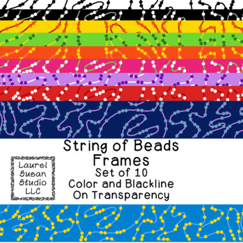 String of Beads Frames Clip Art PNG JPG Blackline Included Commercial Personal