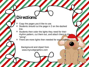String the Lights! A Rhythm Practice Activity for the Holidays (half note)