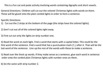 Christmas Lights Sentences Vol III Digraphs and Short Vowels