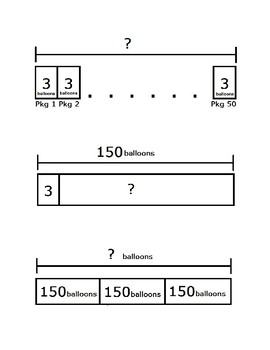 Strip Diagram (Tape Diagram) Matching Activity for TEKS 4.5A and MP2