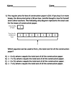 strip diagram 4th grade multi step math strip diagrams (tape diagrams) test prep multi-step ... #13